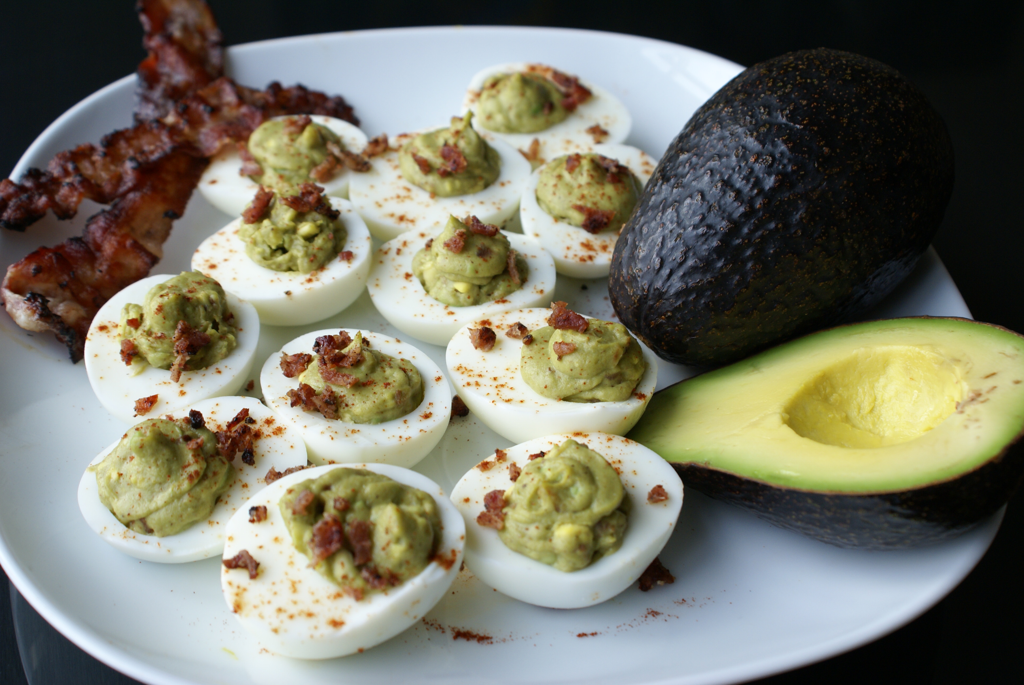 Avocado Deviled Eggs with Bacon |