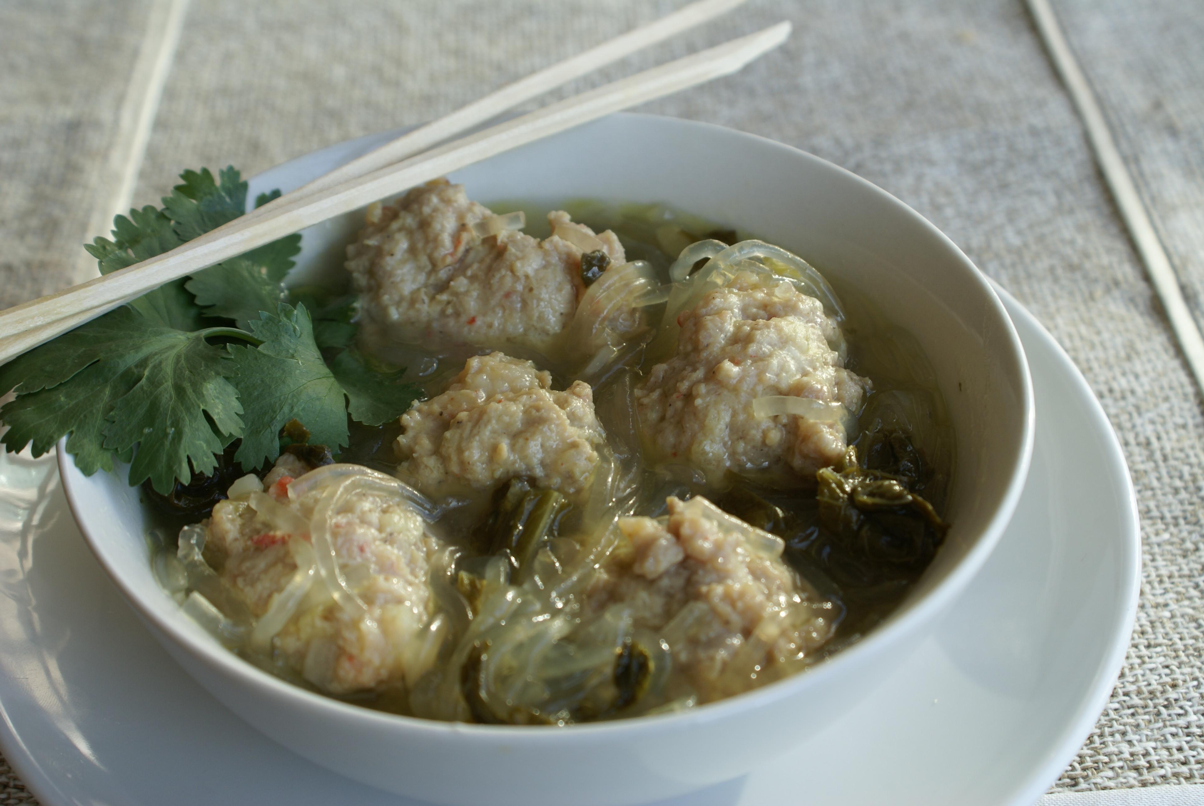 Shrimp and Pork Dumpling Noodle Soup